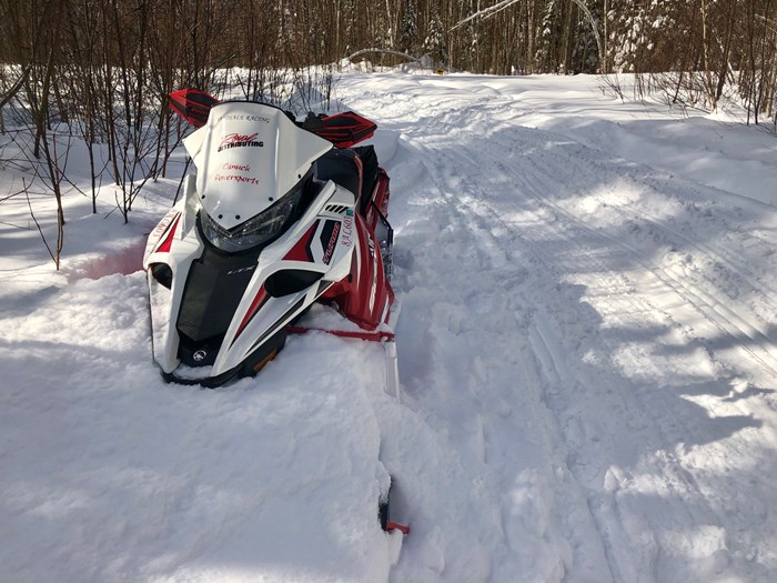 snowmobile side of trail ryan hawkins snowmobiling sudbury