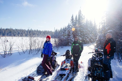 Katie Mike and Ryan at Horwood Lake Lodge Snow Trails
