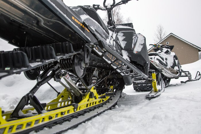 2017 Ski-Doo Summit X 850 parked rear skid view