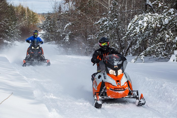 2017 Ski-doo Renegade Backcountry 600 with Polaris behind