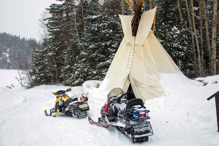Horwood Lake Lodge Tipis and snowmobiles