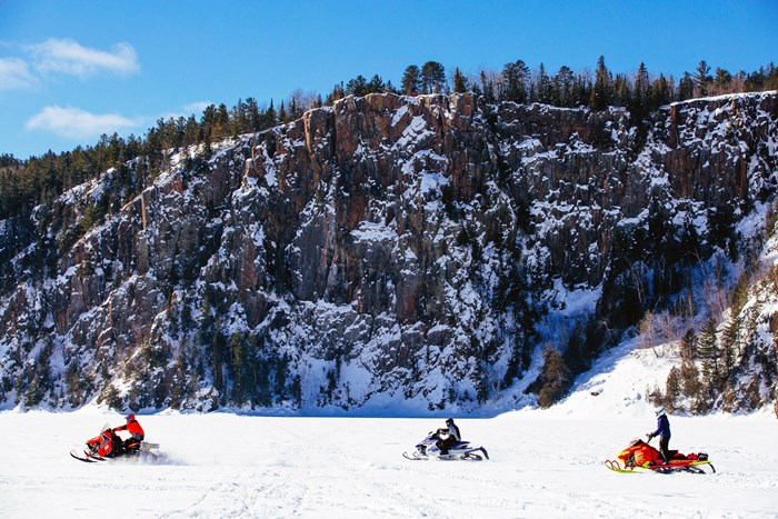 Snowmobile trip to Devils Rock Lake Temiskaming Northeastern Ontario - Virgil Knapp