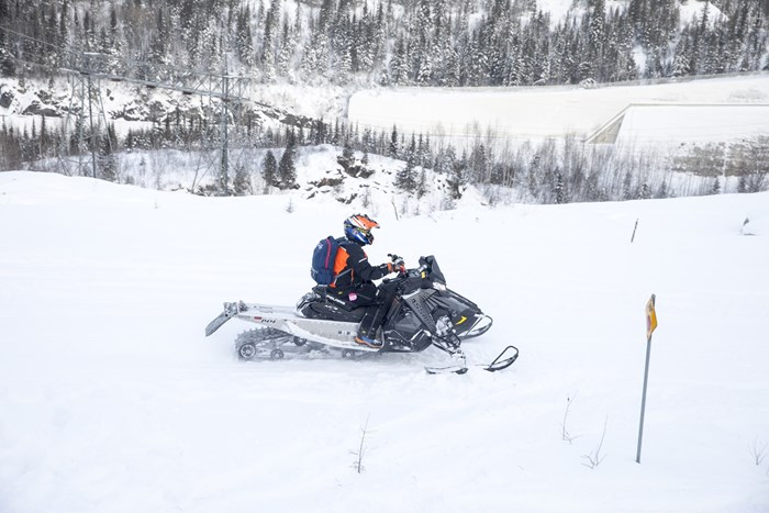 snowmobiling the Abitibi Canyon tour